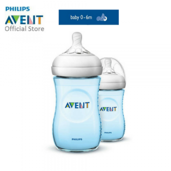 Philips Avent Baby Bottle (Natural, Blue, 9OZ/260ML, Twin Pack)  SCF695/23