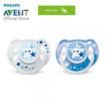 PHILIPS AVENT NIGHT TIME PACIFIERS > 6-18M TWIN PACK