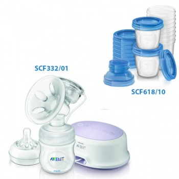PHILIPS BUNDLE  BREASTMILK STORAGE CUPS 180ml (10PCS/PACK) COMFORT SINGLE ELECTRIC BREAST PUMP**FREE GIFTS WORTH OF 49RM**