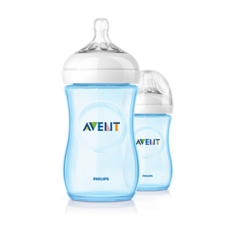 Philips Avent Baby Bottle (Natural, Blue, 9OZ/260ML, Twin Pack).